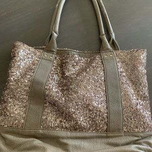 Rose gold sequin & leather tote
